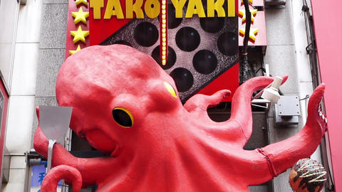 Osaka, Japan -March 2015: Takoyaki Japanese Octopus Flour Ball. Traditional Japa stock footage