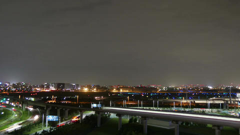 Nightlapse of traffic surrounding Tokyo International Airport (Haneda) Footage