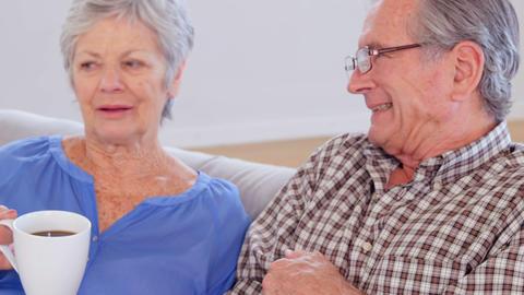 Cute elderly couple talking Footage