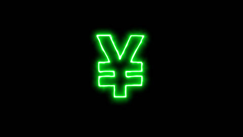 Neon flickering green Yen Sign in the haze. Alpha channel Premultiplied - Matted Animation