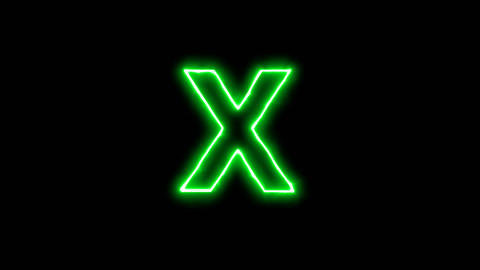 Neon flickering green latin letter X in the haze. Alpha channel Premultiplied - Animation
