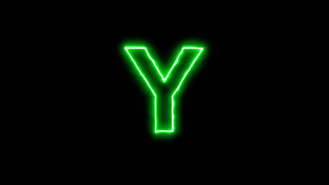 Neon flickering green latin letter Y in the haze. Alpha channel Premultiplied - Animation