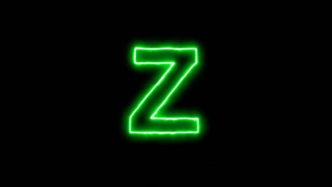 Neon flickering green latin letter Z in the haze. Alpha channel Premultiplied - Animation