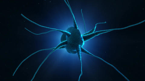 Glowing neuron cell on abstract blue background. Brain health and brain disease Animation