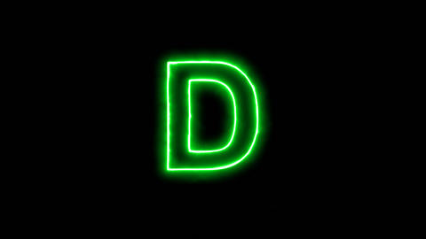Neon flickering green latin letter D in the haze. Alpha channel Premultiplied - Animation