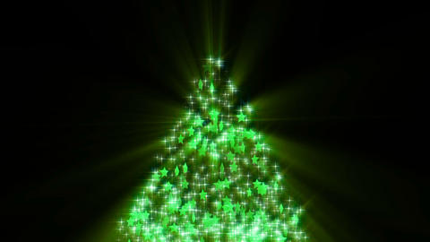 Christmas tree glitter stars shiny loop-green CG動画素材