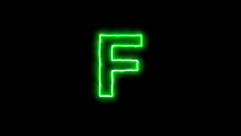 Neon flickering green latin letter F in the haze. Alpha channel Premultiplied - Animation