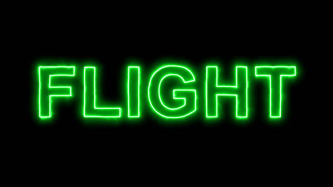 Neon flickering green text FLIGHT in the haze. Alpha channel Premultiplied - Animation