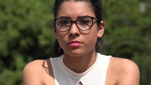 Serious Female Teen Wearing Glasses Footage