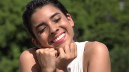 Hopeful Hispanic Pretty Teen Girl And Love Footage