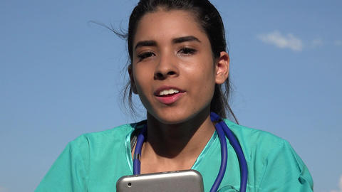 Young Female Nurse Talking Live Action