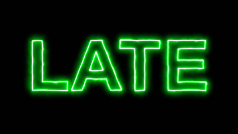 Neon flickering green text LATE in the haze. Alpha channel Premultiplied - Animation