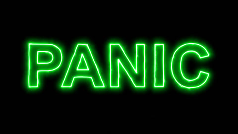 Neon flickering green text PANIC in the haze. Alpha channel Premultiplied - Animation