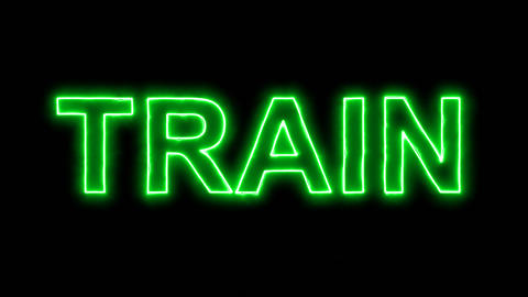 Neon flickering green text TRAIN in the haze. Alpha channel Premultiplied - Animation