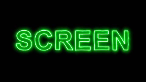 Neon flickering green text SCREEN in the haze. Alpha channel Premultiplied - Animation