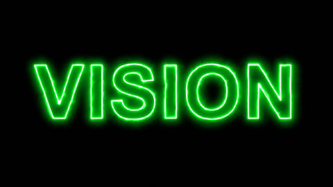 Neon flickering green text VISION in the haze. Alpha channel Premultiplied - Animation