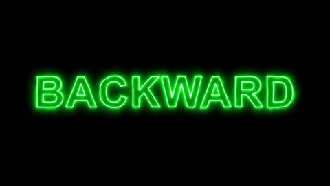 Neon flickering green text BACKWARD in the haze. Alpha channel Premultiplied - Animation