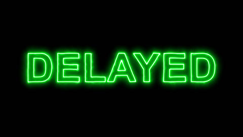 Neon flickering green text DELAYED in the haze. Alpha channel Premultiplied - Animation