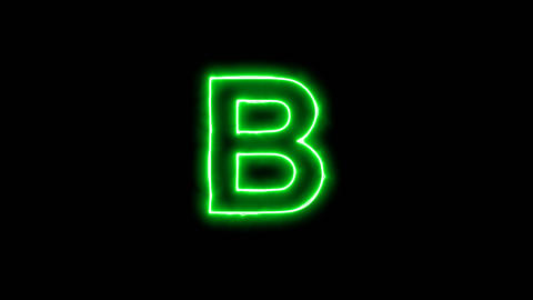 Neon flickering green latin letter B in the haze. Alpha channel Premultiplied - Animation