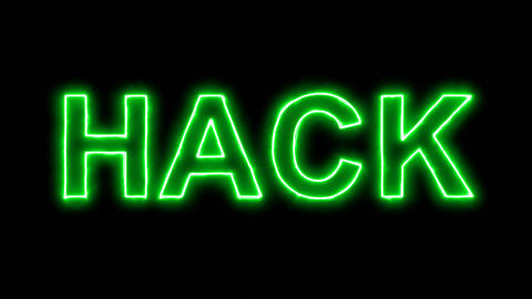 Neon flickering green text HACK in the haze. Alpha channel Premultiplied - Animation