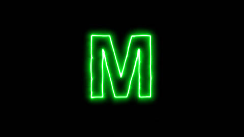 Neon flickering green latin letter M in the haze. Alpha channel Premultiplied - Animation