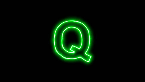Neon flickering green latin letter Q in the haze. Alpha channel Premultiplied - Animation