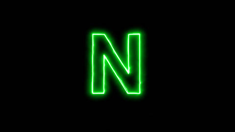 Neon flickering green latin letter N in the haze. Alpha channel Premultiplied - Animation