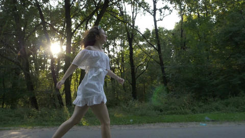 Beautiful model dressed in romantic beautiful white dress... Stock Video Footage