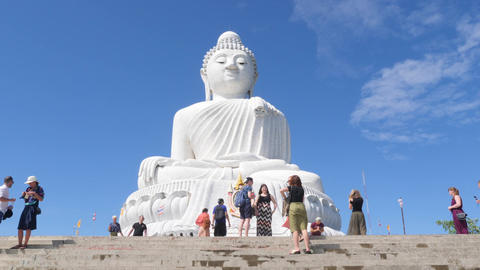 Time lapse: Tourists Taking Selfie and Photos with White Big Buddha Temple Footage