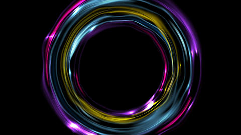 Colorful glowing electric neon rings video animation Animation