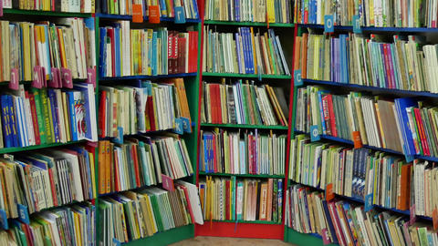 Many books on the shelves Footage
