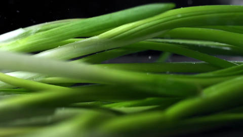 Stalks of green onions falls to the table in super slow motion, food in slow Footage
