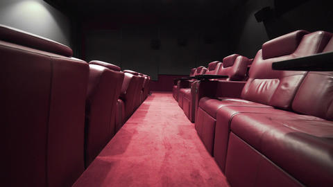 Panorama of the cinema theater with comfort leather armchairs, cinema without Footage