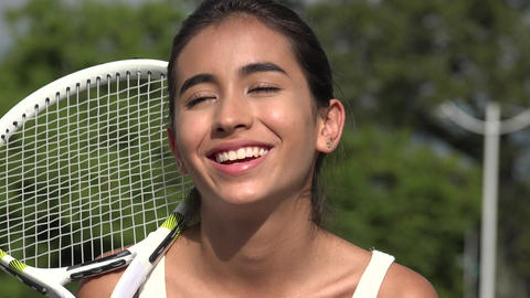 Laughing Teen Female Tennis Player GIF