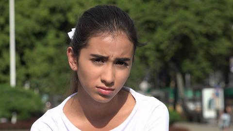 Sad Depressed Young Hispanic Female Teen Live Action