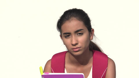 Serious Hispanic Female Teen Student Live Action