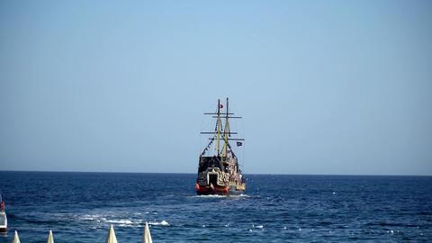 tourist tour on a pirate ship Footage