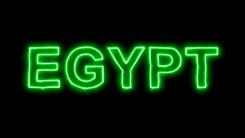 Neon flickering green country name EGYPT in the haze. Alpha channel Animation