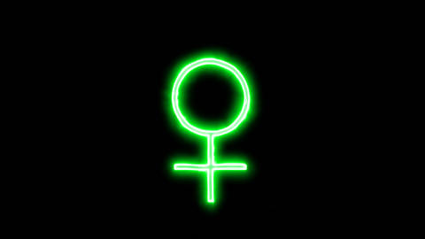 Neon flickering green Female Sign in the haze. Alpha channel Premultiplied - Animation