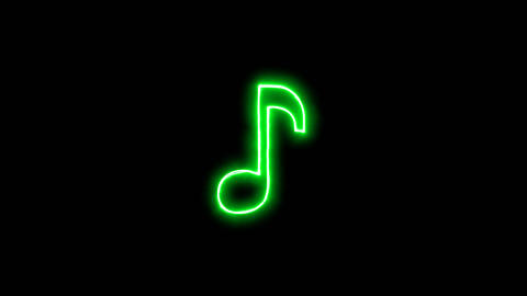 Neon flickering green Eighth note in the haze. Alpha channel Premultiplied - Animation