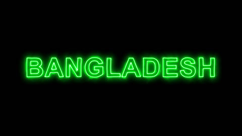 Neon flickering green country name BANGLADESH in the haze. Alpha channel Animation