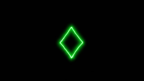 Neon flickering green diamond suit in the haze. Alpha channel Premultiplied - Animation