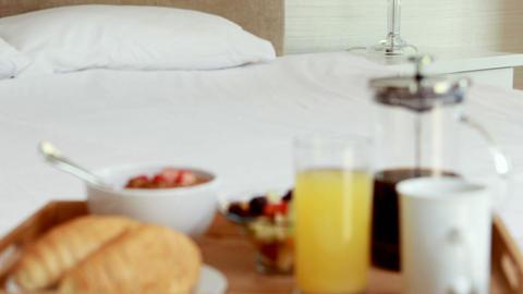 Breakfast tray on bed Footage