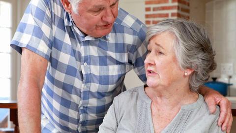 Senior couple talking together Footage