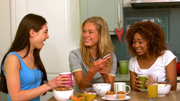 Three smiling young female friends reading text message Live Action