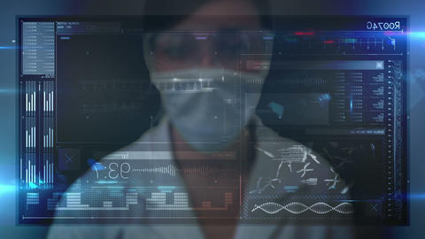 Animation of scientist using a tech interface Animation