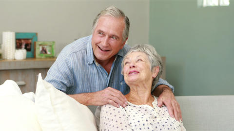 Senior couple embracing in living room Footage