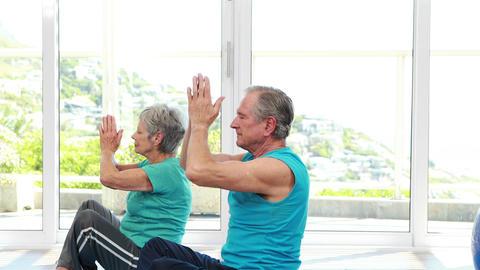 Senior couple doing yoga Footage