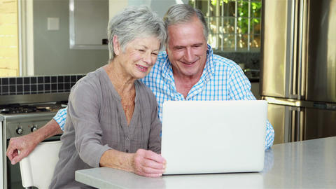Senior couple doing video chat Footage