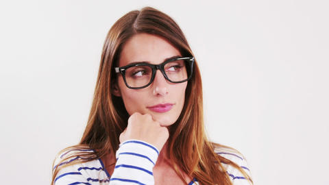 Pretty brunette with eyeglasses Footage